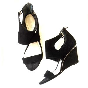 Alfani Giah black suede wedge sandals gold accents